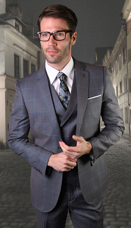 MANCHESTER-CH ( 3pc Mens Plaid Statement Suit With Vest And Flat Front Pants, Super 150's )