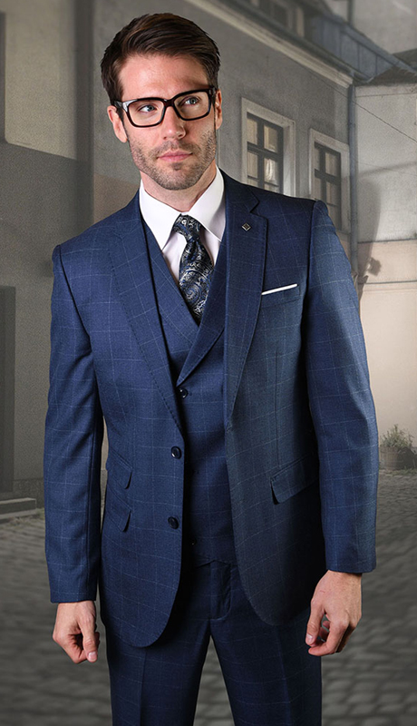 HARWARD-SA ( 3pc Mens Plaid Statement Suit, Flat Front Pants, Super 150's )