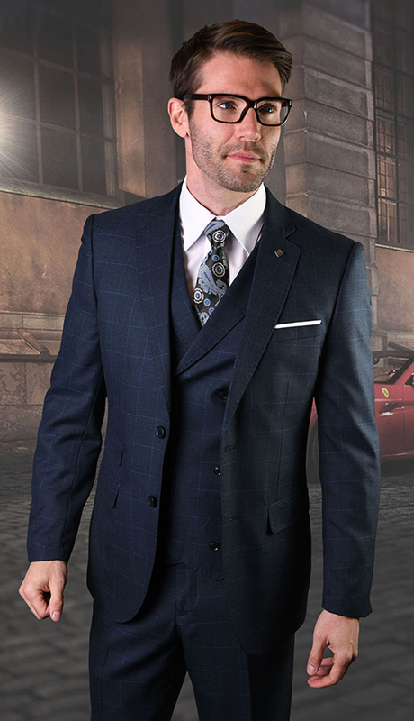 HARWARD-NA ( 3pc Mens Plaid Statement Suit, Flat Front Pants, Super 150's )