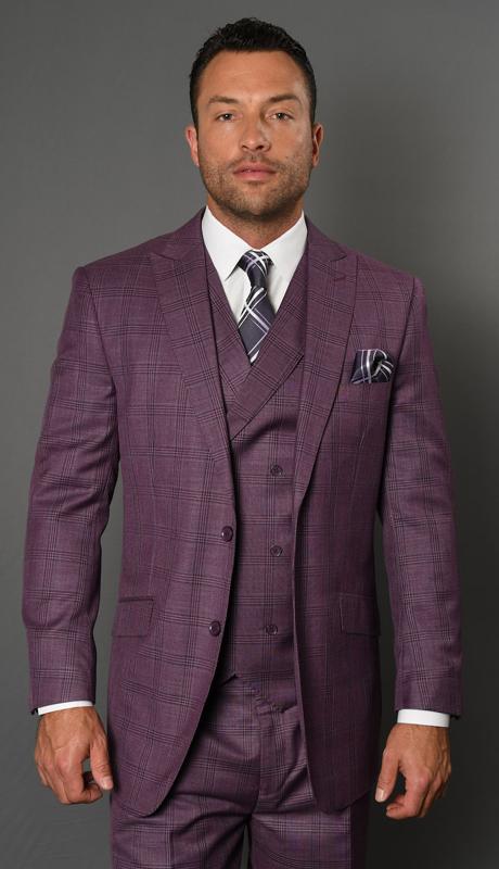 CANON-MA-CO ( 3pc Mens Plaid Statement Suit, Pleated Pants, Super 150's )