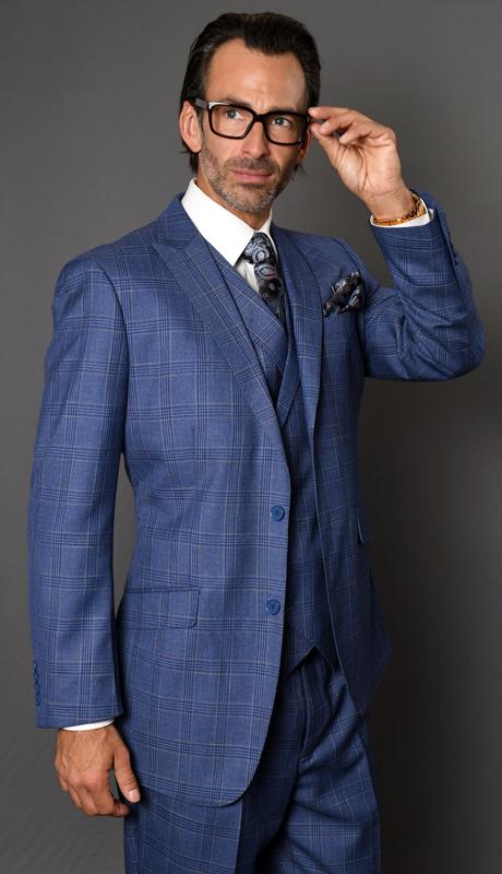 CANON-BL ( 3pc Mens Plaid Statement Suit, Pleated Pants, Super 150's )