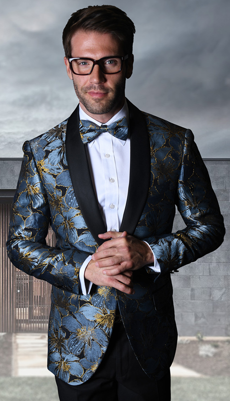PJ-107-BL ( 1pc Statement Mens Fancy Single Jacket With Free Matching Bow Tie, Super 150's )
