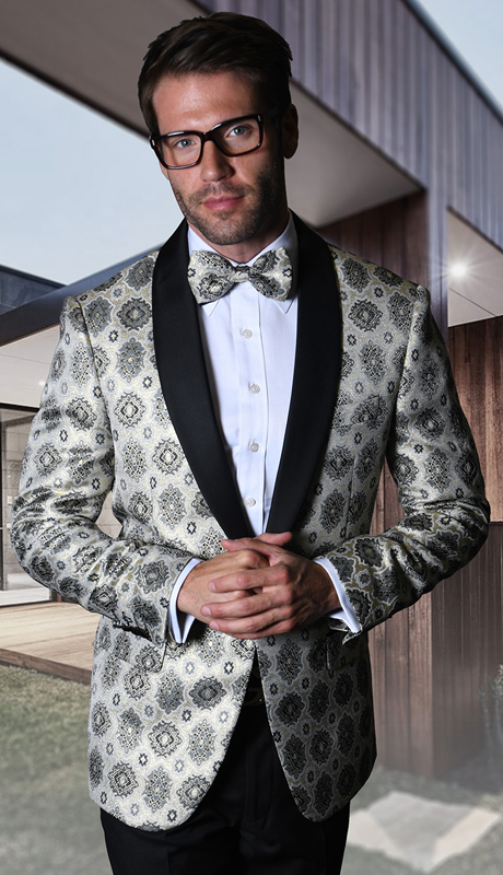 PJ-102-SI ( 1pc Statement Mens Fancy Single Jacket With Free Matching Bow Tie, Super 150's )