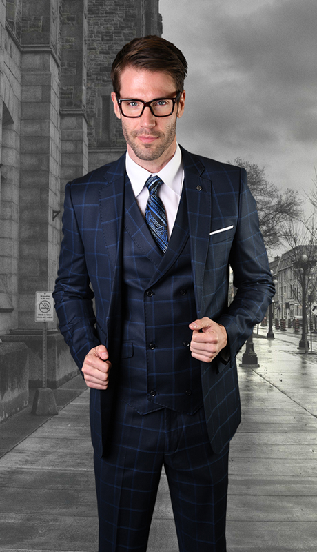 MANCHESTER-NA-CO ( 3pc Mens Plaid Statement Suit With Vest And Flat Front Pants, Super 150's )