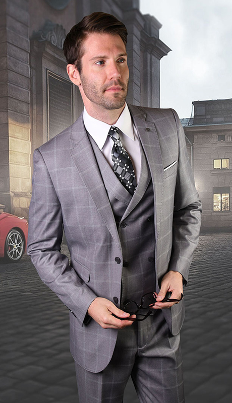 MANCHESTER-GR ( 3pc Mens Plaid Statement Suit With Vest And Flat Front Pants, Super 150's )