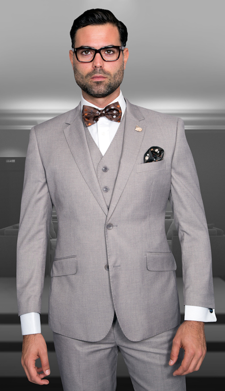 STZV-100 TN ( 3pc Mens Statement Suit, Flat Front Pants, Super 150's )