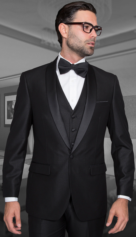 Enzo-1 BLK ( 3pc Mens Statement Suit Flat Front Pants, Super 150's, Includes Free Matching Bow Tie )