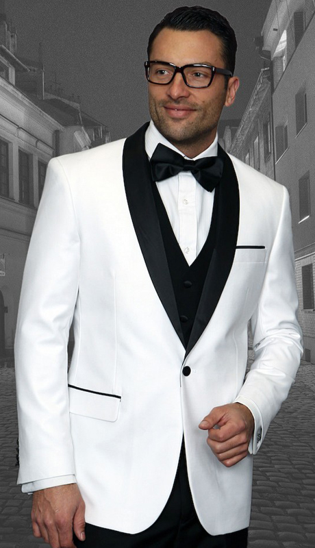 Encore WHT ( 3pc Mens Statement Suit Flat Front Pants, Super 150's, Includes Free Matching Bow Tie )