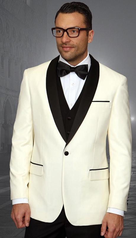 Encore CRM ( 3pc Mens Statement Suit Flat Front Pants, Super 150's, Includes Free Matching Bow Tie )