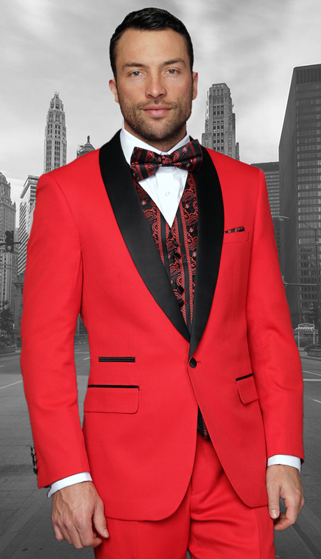 Capri RD ( 3pc Mens Statement Suit Flat Front Pants, Super 150's, Includes Free Matching Bow Tie )