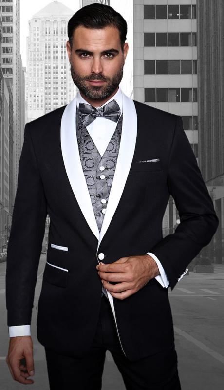 Capri BLK ( 3pc Mens Statement Suit Flat Front Pants, Super 150's, Includes Free Matching Bow Tie )