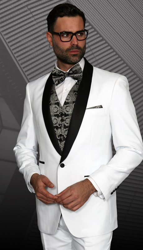 Capri WHT ( 3pc Mens Statement Suit Flat Front Pants, Super 150's, Includes Free Matching Bow Tie )