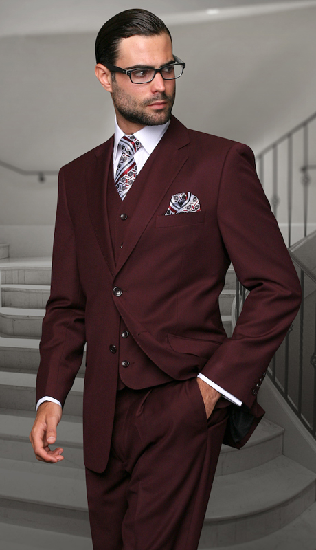 STZV-100 BUR ( 3pc Mens Statement Suit, Flat Front Pants, Super 150's )