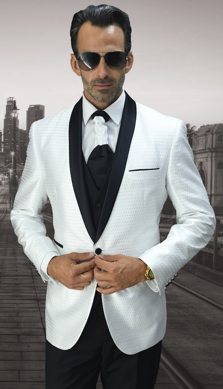 Bellagio-7 WHT ( 3pc Mens Statement Suit Flat Front Pants, Super 150's, Includes Free Matching Tie )