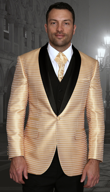 Bellagio-7 GLD ( 3pc Mens Statement Suit Flat Front Pants, Super 150's, Includes Free Matching Tie )