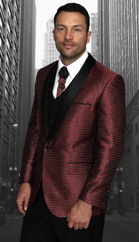 Bellagio-7 BUR ( 3pc Mens Statement Suit Flat Front Pants, Super 150's, Includes Free Matching Tie )