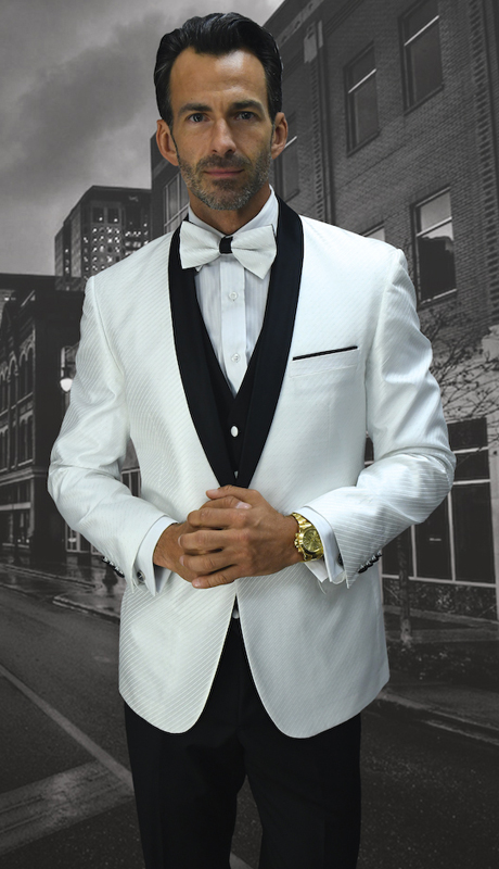 Bellagio-6 WHT ( 3pc Mens Statement Suit Flat Front Pants, Super 150's, Includes Free Matching Bow Tie )