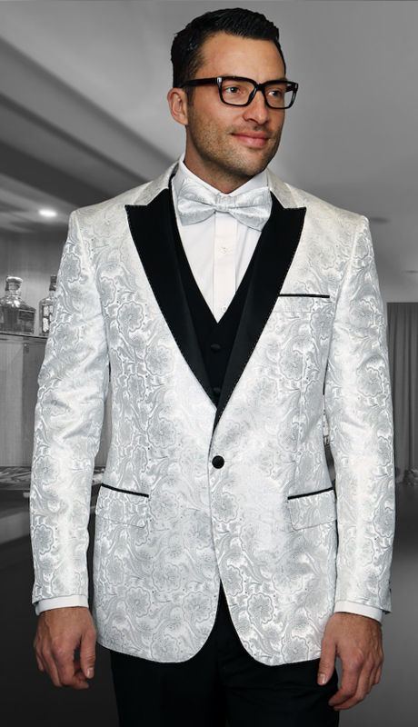 Bellagio-4 WHT ( 3pc Mens Statement Suit Flat Front Pants, Super 150's, Includes Free Matching Bow Tie )