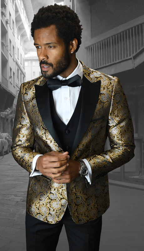 Bellagio-4 GLD ( 3pc Mens Statement Suit Flat Front Pants, Super 150's, Includes Free Matching Bow Tie )