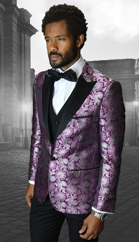 Bellagio-4 FUS ( 3pc Mens Statement Suit Flat Front Pants, Super 150's, Includes Free Matching Bow Tie )