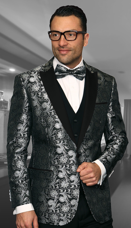 Bellagio-4 BLK-CO ( 3pc Mens Statement Suit Flat Front Pants, Super 150's, Includes Free Matching Bow Tie )
