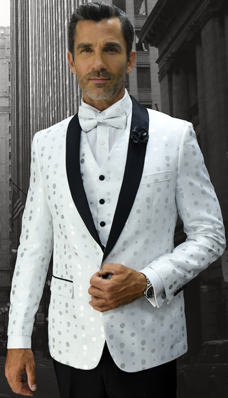 Bellagio-13  WHT ( 3pc Mens Statement Suit Flat Front Pants, Super 150's, Includes Free Matching Bow Tie )