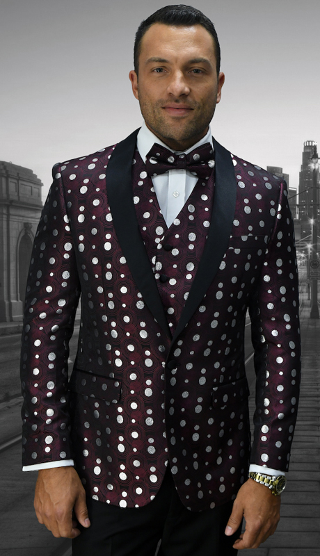 Bellagio-13 BUR ( 3pc Mens Statement Suit Flat Front Pants, Super 150's, Includes Free Matching Bow Tie )