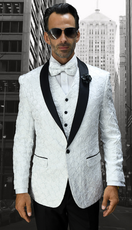 Bellagio-12 WHT ( 3pc Mens Statement Suit Flat Front Pants, Super 150's, Includes Free Matching Bow Tie )