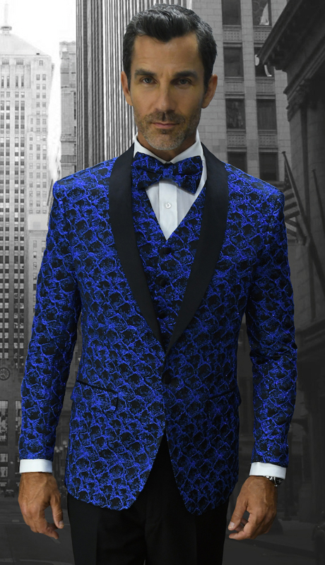 Bellagio-12 RYL ( 3pc Mens Statement Suit Flat Front Pants, Super 150's, Includes Free Matching Bow Tie )