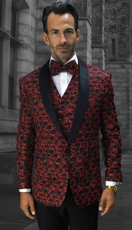 Bellagio-12 RD ( 3pc Mens Statement Suit Flat Front Pants, Super 150's, Includes Free Matching Bow Tie )