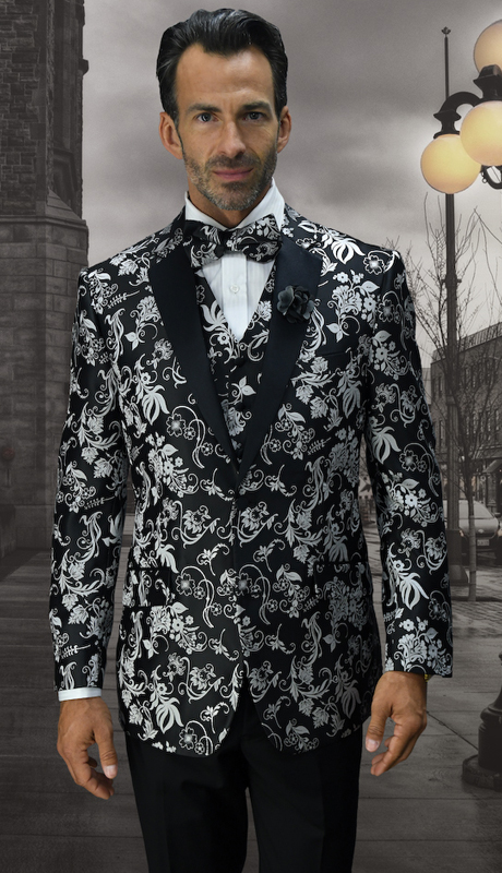 Bellagio-11 BLK ( 3pc Mens Statement Suit Flat Front Pants, Super 150's, Includes Free Matching Bow Tie )