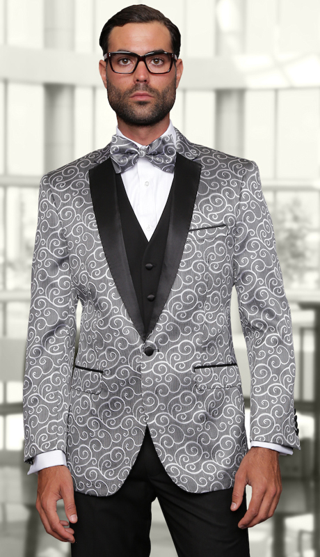 Bellagio SLV ( 3pc Mens Statement Suit Flat Front Pants, Super 150's, Includes Free Matching Bow Tie )