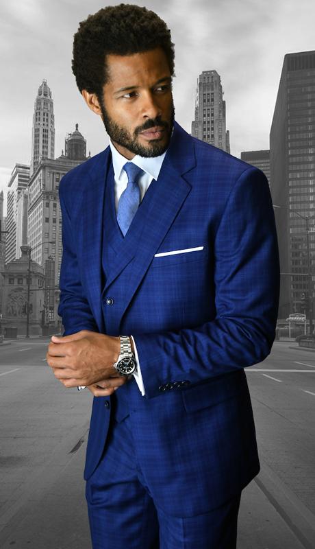 Angelino SAP ( 3pc Mens Statement Suit Flat Front Pants, Super 150's )