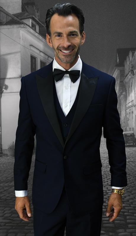 Alberto NVY ( 3pc Mens Statement Suit Flat Front Pants, Super 150's )