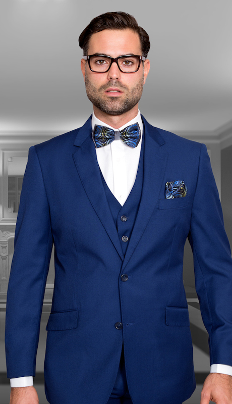 STZV-100 SAP ( 3pc Mens Statement Suit, Flat Front Pants, Super 150's )