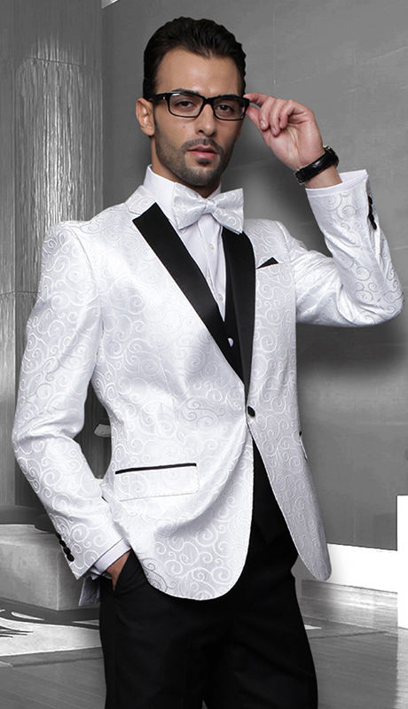 Bellagio WHT ( 3pc Mens Statement Suit Flat Front Pants, Super 150's, Includes Free Matching Bow Tie )