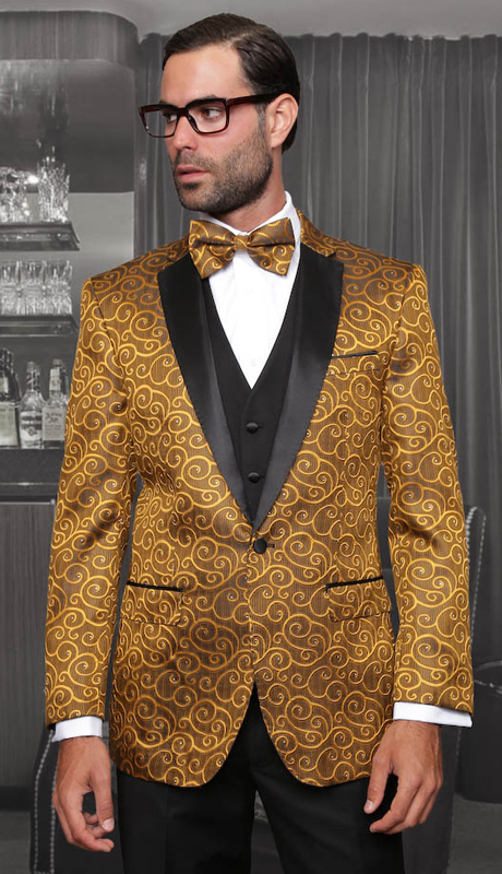 Bellagio GLD ( 3pc Mens Statement Suit Flat Front Pants, Super 150's, Includes Free Matching Bow Tie )