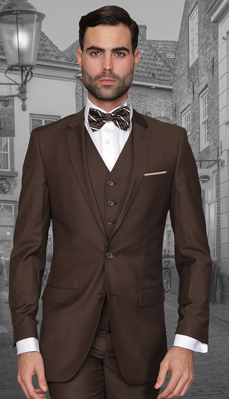 Lorenzo BRN ( 3pc Mens Statement Suit, Flat Front Pants, Super 150's )