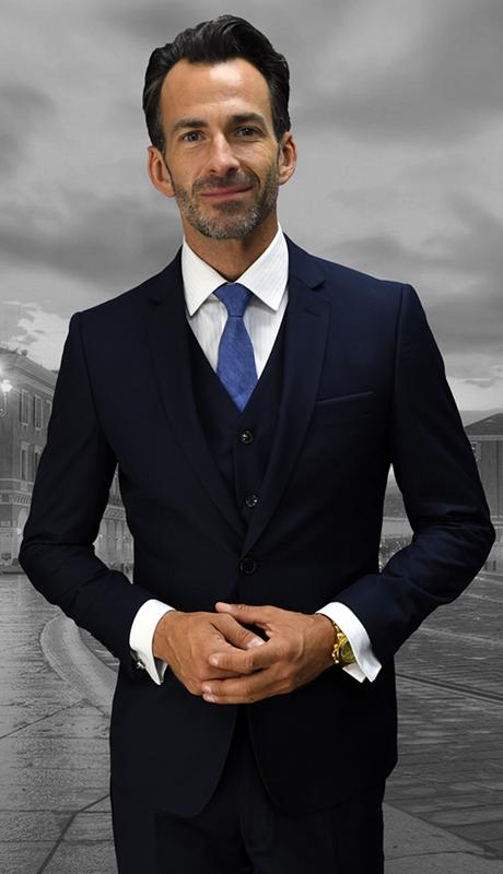 Lorenzo NVY ( 3pc Mens Statement Suit, Flat Front Pants, Super 150's )