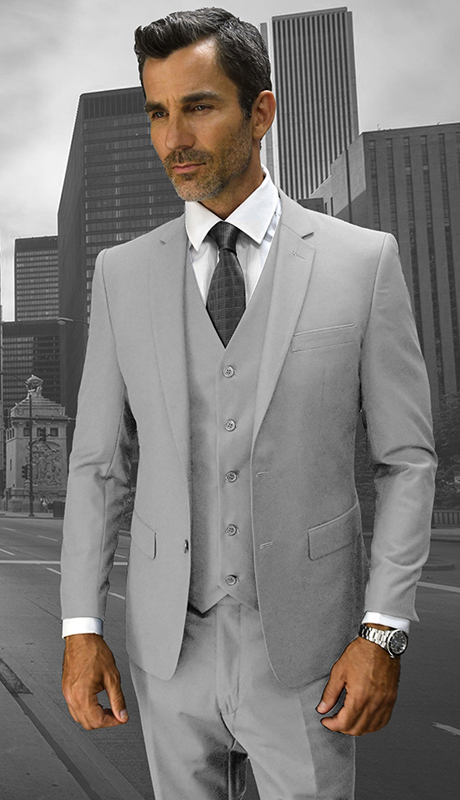 Lorenzo AS ( 3pc Mens Statement Suit, Flat Front Pants, Super 150's )