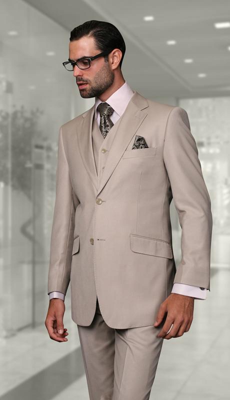 STZV-100 SND ( 3pc Mens Statement Suit, Flat Front Pants, Super 150's )