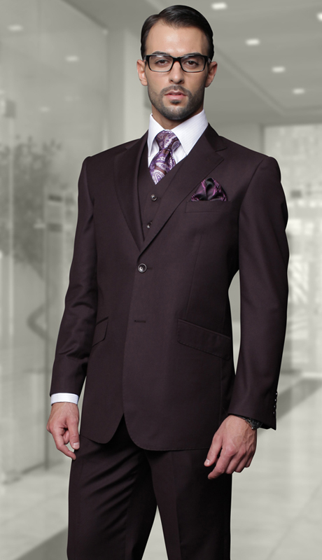 STZV-100 EGP ( 3pc Mens Statement Suit, Flat Front Pants, Super 150's )