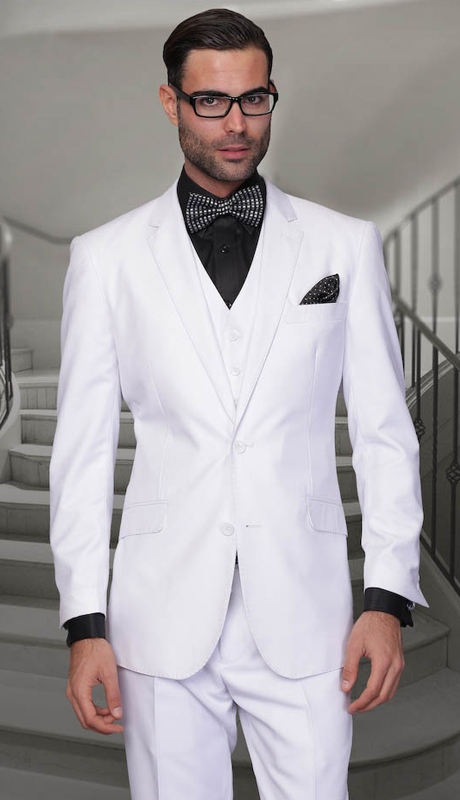 STZV-100 WHT ( 3pc Mens Statement Suit, Flat Front Pants, Super 150's )