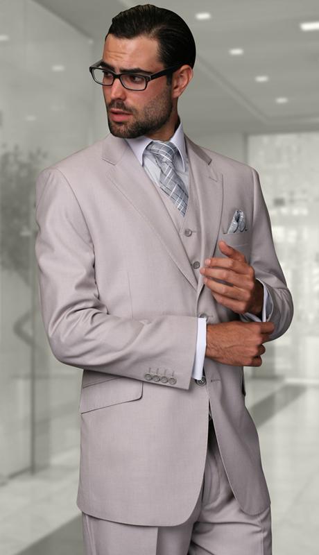 STZV-100 AH ( 3pc Mens Statement Suit, Flat Front Pants, Super 150's )