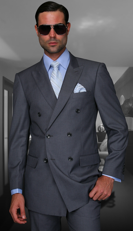 TZD-100-CH ( 2pc Double Breasted Mens Statement Suit, Pleated Pants, Super 150's )