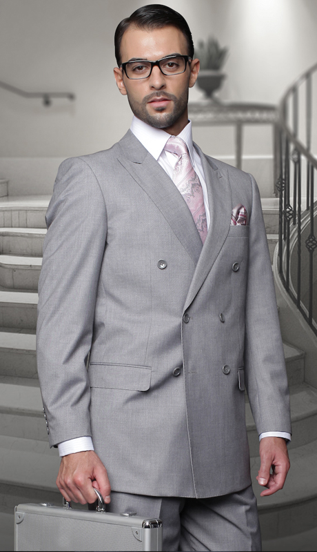 TZD-100-GR ( 2pc Double Breasted Mens Statement Suit, Pleated Pants, Super 150's )