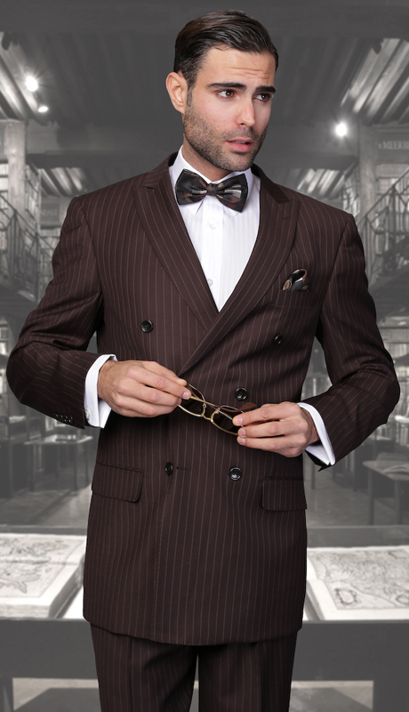 TZD-300-BR ( 2pc Double Breasted Mens Statement Suit, Pleated Pants, Super 150's )