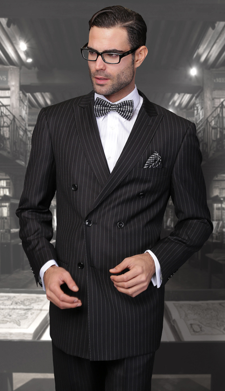 TZD-300-BK ( 2pc Double Breasted Mens Statement Suit, Pleated Pants, Super 150's )