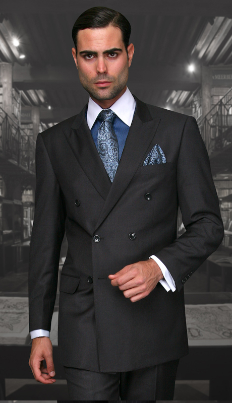 TZD-100-HC ( 2pc Double Breasted Mens Statement Suit, Pleated Pants, Super 150's )
