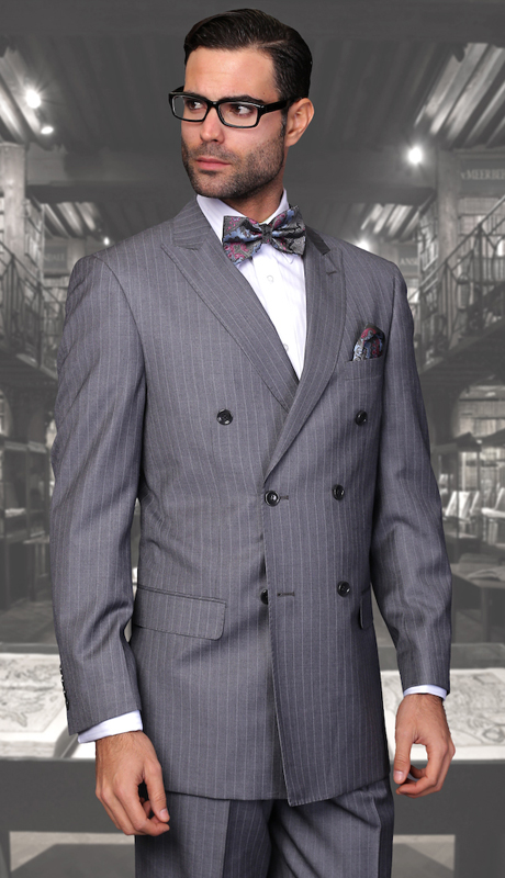 TZD-300-CH ( 2pc Double Breasted Mens Statement Suit, Pleated Pants, Super 150's )